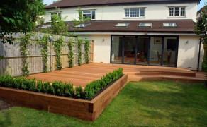 Wooden railway sleepers for garden